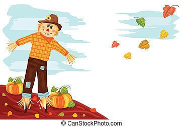 Herbst - Kürbis und Vogelscheuche