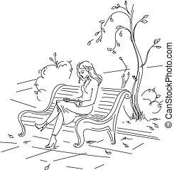 herbst, m�dchen, sitzen, buch, lesende , parkbank