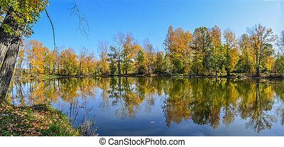 herbst, schoenheit, landschaftsbild, see, herbstlich, -, natur, bunte