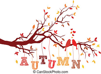 Herbstbaumzweig, Vektor