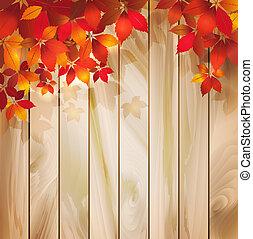 Herbsthintergrund mit Blättern auf einer Holzsprünge