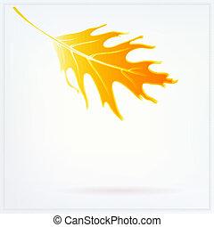 Herbstkarte mit fallenden Blättern und weichen weißen Lichtern