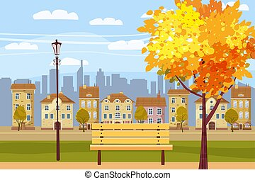 Herbstlandschaft im Park, Stadt, Häuser, Panorama, Herbststimmung, Holzbänke, fallende Blätter, Cartoonstil, Vektor, Illustration, isoliert