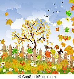 Herbstlandschaft mit einem Zaun