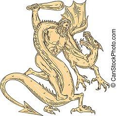 Herkules kämpfen gegen Drachen, die Farbe zeichnen.