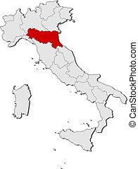 hervorgehoben, landkarte, emilia-romagna, italien