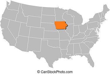 hervorgehoben, landkarte, vereint, iowa, staaten