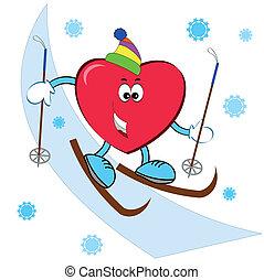 Herz am Skifahren.