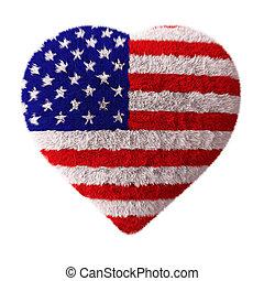 herz, amerikanische , -, fahne, flaumig