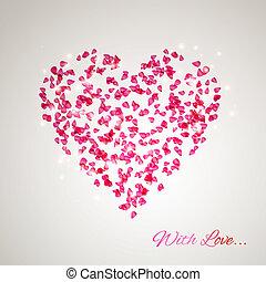 Herz aus den sanften Rosenblättern.