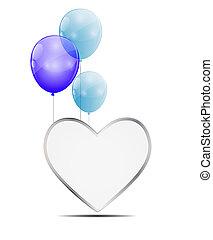 herz, balloon, vektor, abbildung, hintergrund