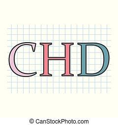 herz, checkered, chd, akronym, (congenital, defect), geschrieben, papier, blatt