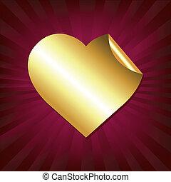 Herz des Goldaufklebers