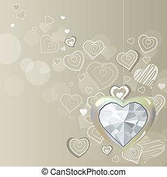 herz, diamant, licht, grau, hintergrund, hängender , silber