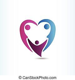 herz- form, familie, logo