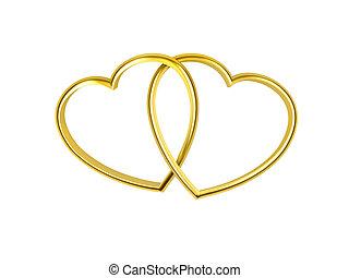 Herz geformte goldene Ringe.