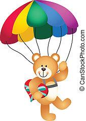 herz, haltend teddy bär, fallschirm