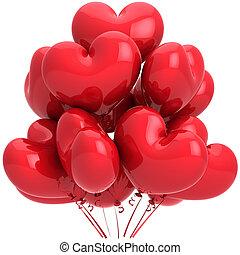herz, helium, luftballone, rotes , geformt