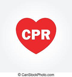 Herz-Ikone mit CPR-Schild.