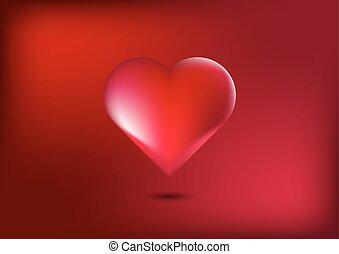 Herz im roten Hintergrund.