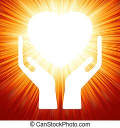 Herz in offenen Händen. EPS 8