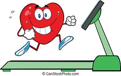 Herz läuft auf einem Laufband.