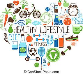 herz, lebensstil, diät, zeichen, fitness, gesunde