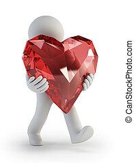 herz, leute, -, valentine, klein, tag, 3d