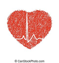 Herz mit Kardiogramm. EPS 8