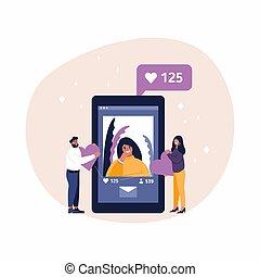 herz, pfahl, lächeln, junger, kommunikation, vernetzung, liebe, emoticon., concept., app., geben, mann, rufen frau, mögen, seine, responds, lächeln, mag, sozial, foto
