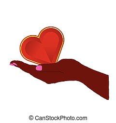 Herz rot in der Hand Illustration.