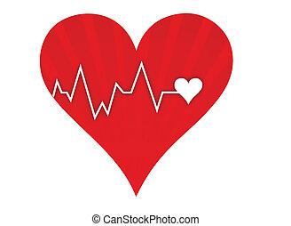Herz schlägt Lebenslinie