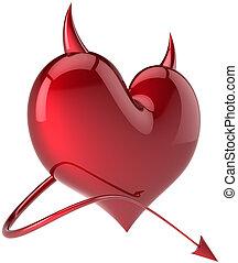herz, teufel, symbol, form, glänzend, rotes
