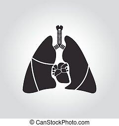 Herz- und Lungensymbol.