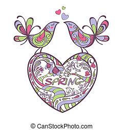 Herz, Vögel, Frühling