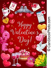 herz, valentine, tag, glücklich, luftballone, kalligraphie