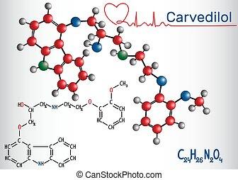 herz, verarbeitung, beta, chemische , congestive, -, molekül, strukturell, droge, ausfall, formel, gebraucht, carvedilol, blocker, model.