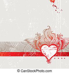 herz, weinlese, brennender, -, abbildung, hand, vektor, gezeichnet