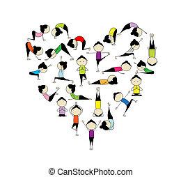 herz, yoga!, form, design, liebe, dein