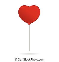 Herzballon-Vektor in Rot.