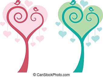 Herzbaum mit Vögeln, Vektor.