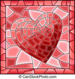 Herzbeflecktes Glasfenster.