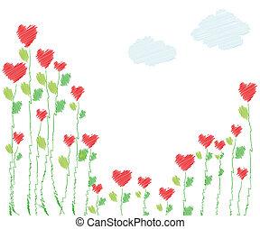Herzblüte im Hintergrund.