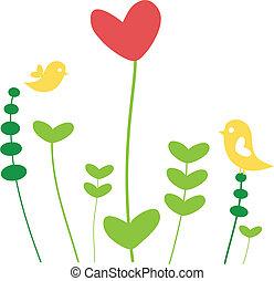 Herzblume mit Vögeln