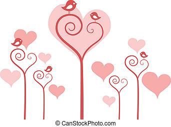 Herzblumen mit Vögeln, Vektor