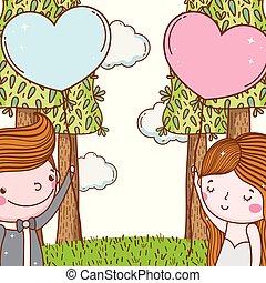 herzen, frau, luftballone, mann, wedding