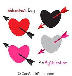 herzen, pfeil, valentine, liebe, gepierct, satz