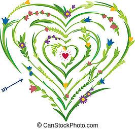 Herzförmiges Labyrinth mit Blumen