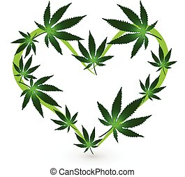 Herzform Cannabis Blätter Logo.