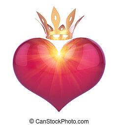 Herzform Königkönigin rot mit goldener Krone abstrakt